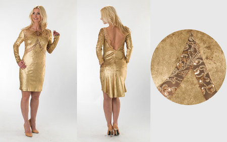 Gold Short Dress with Sequined Lace