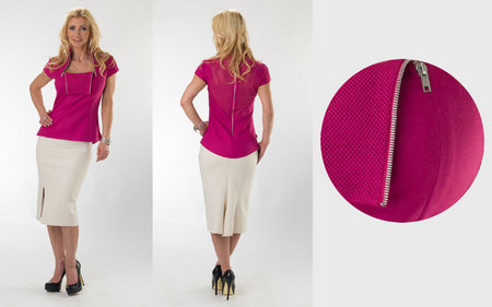 Hot Pink Blouse with Flip Collar & Skirt