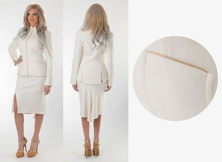 White Wool Skirt Suit