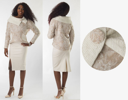White/Taupe Lace Sweater & Skirt