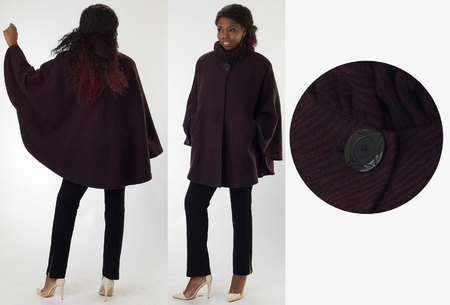 Black/Merlot-Purple Wook Swing Coat with Pleated Collar