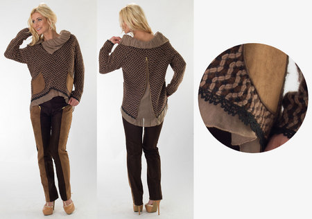 Brown/Taupe Wool Sweater & Brown Suede Cord Pants