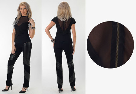 Black Blouse with Mesh Inserts & Black Swirl Straight Pants