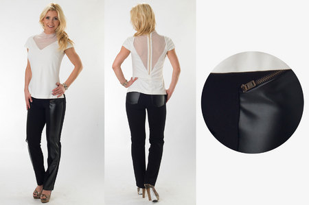 White Blouse with Mesh Inserts & Black Straight Pants