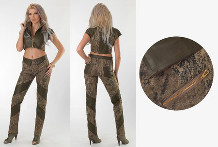 Snake Twill Faux Leather Crop Top & Snake Twill Full-Length Swirl Pants